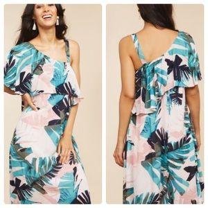 Motherhood Pull Down Tropical Dress